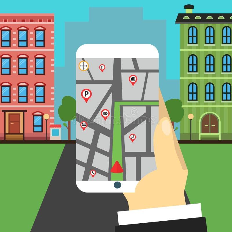 Trajeto da navegação A mão guardara o smartphone imagem de stock royalty free
