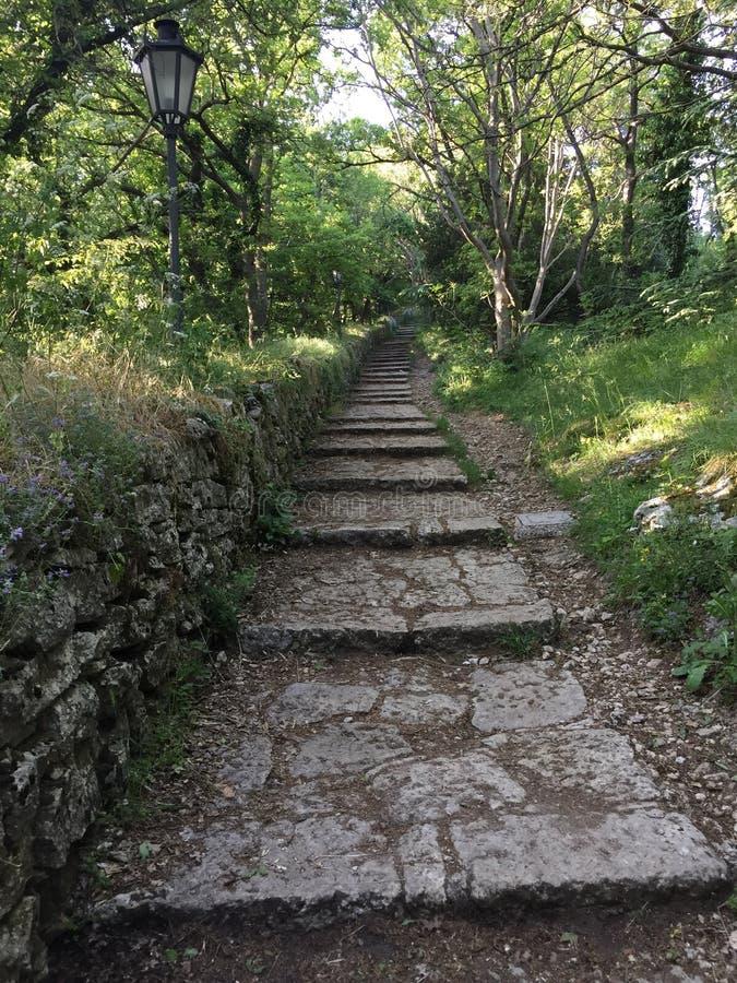 Trajeto de floresta em São Marino imagens de stock royalty free