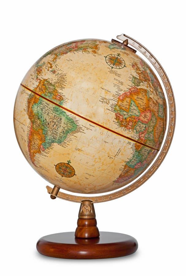 Trajeto de grampeamento isolado do mundo globo antigo. fotografia de stock
