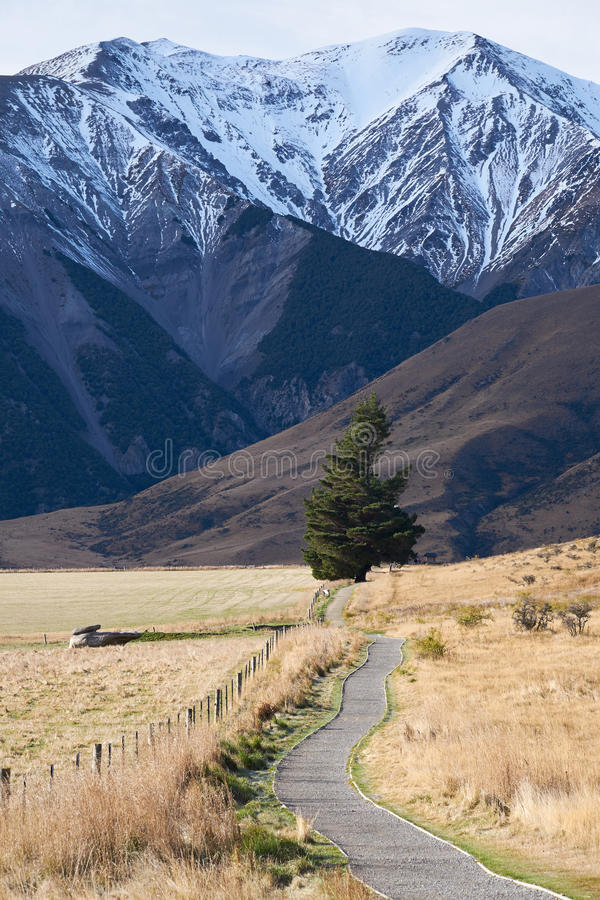 Trajeto de passeio no monte do castelo, Nova Zelândia fotografia de stock
