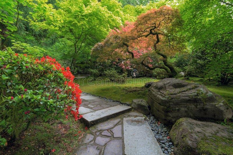 Trajeto de pedra dando uma volta do jardim japonês com plantas e as árvores manicured fotografia de stock royalty free