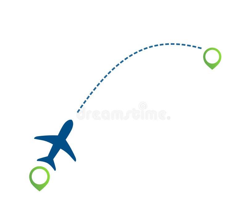 Trajeto de voo plano da linha aérea com ícone do ponteiro do verde do lugar do mapa ilustração royalty free