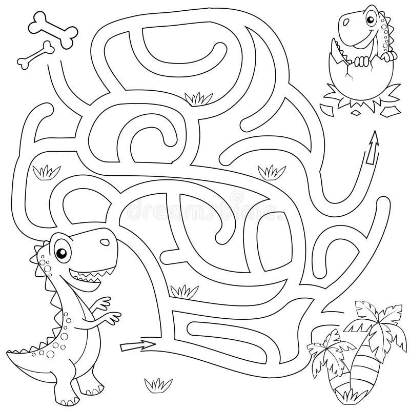 Trajeto do achado do dinossauro da ajuda para aninhar o labirinto Jogo do labirinto para miúdos Ilustração preto e branco do veto ilustração royalty free