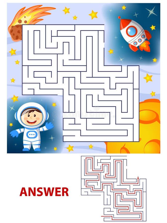 Trajeto do achado do cosmonauta da ajuda a subir rapidamente labirinto Jogo do labirinto para miúdos ilustração do vetor