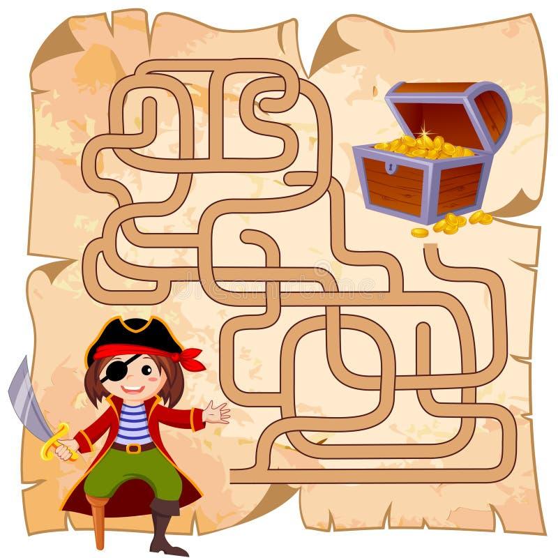 Trajeto do achado do pirata da ajuda à arca do tesouro labirinto Jogo do labirinto para miúdos ilustração stock