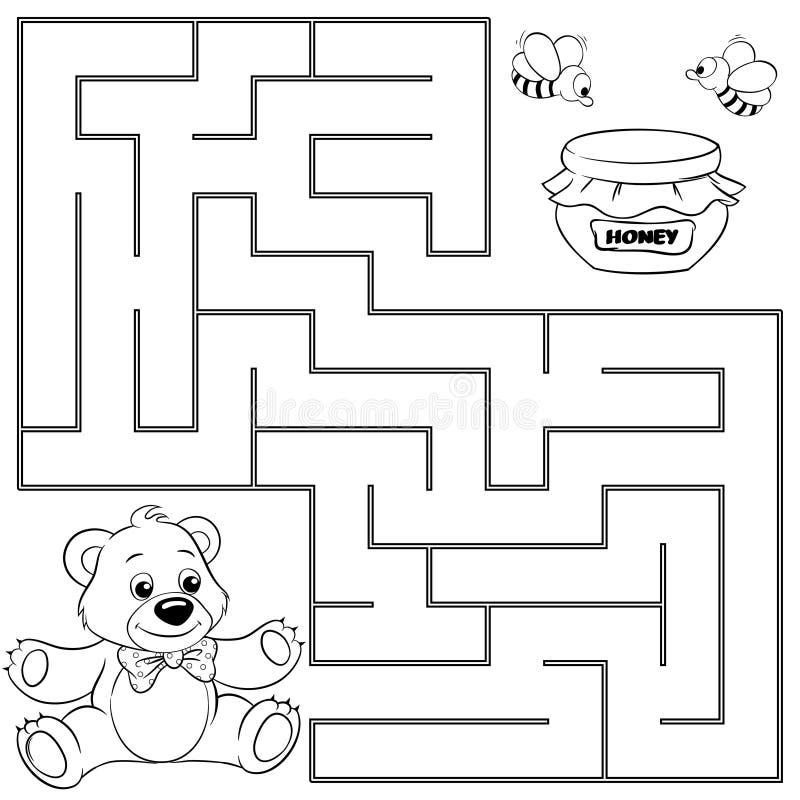 Trajeto do achado do urso da ajuda ao mel labirinto ilustração do vetor