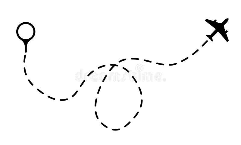 Trajeto do ar Precipitando a linha tra?o com pontos, a trilha do sum?rio da mosca do projeto dos avi?es ou a ilustra??o do vetor  ilustração stock