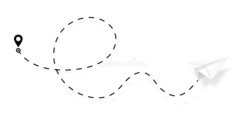 Trajeto do avião na linha forma pontilhada, tracejada Rota do plano de papel isolada no fundo branco Vetor ilustração stock