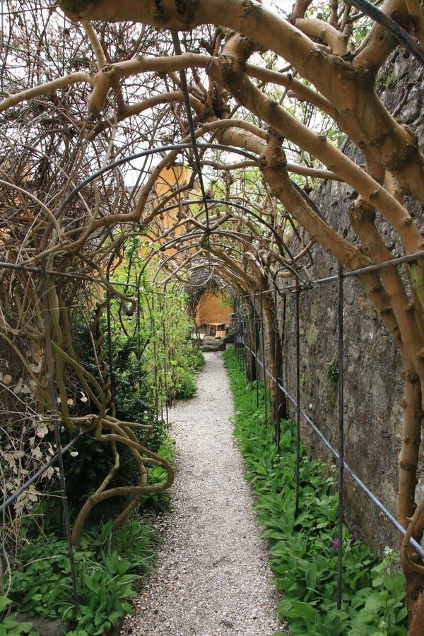 Trajeto do jardim em Culross, Escócia fotografia de stock