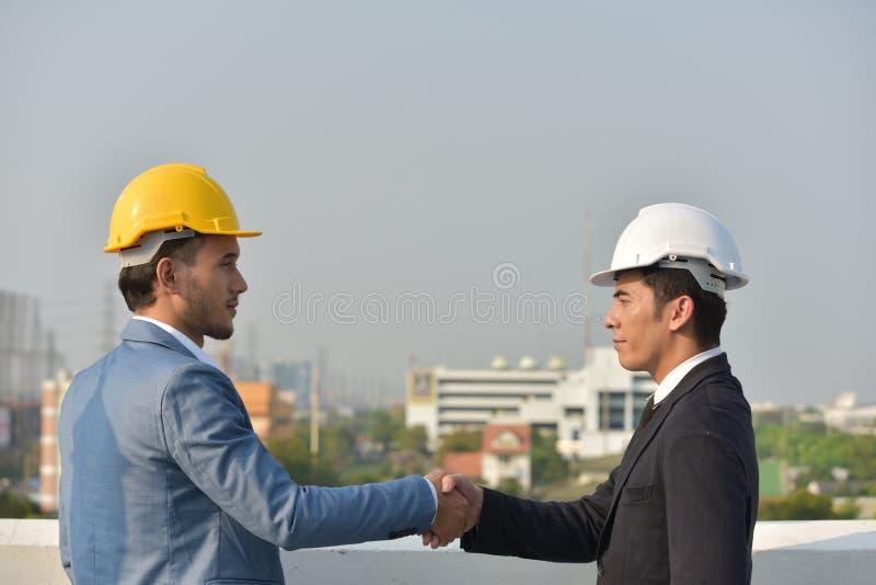 Trajeto do negócio collaboration Conceito da confiança da parceria e da cooperação Negócios fotografia de stock