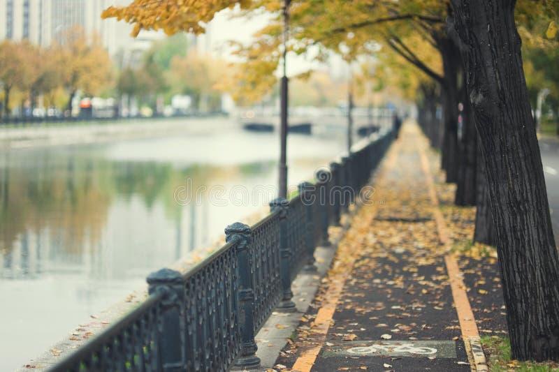 Trajeto do outono pelo rio urbano fotografia de stock
