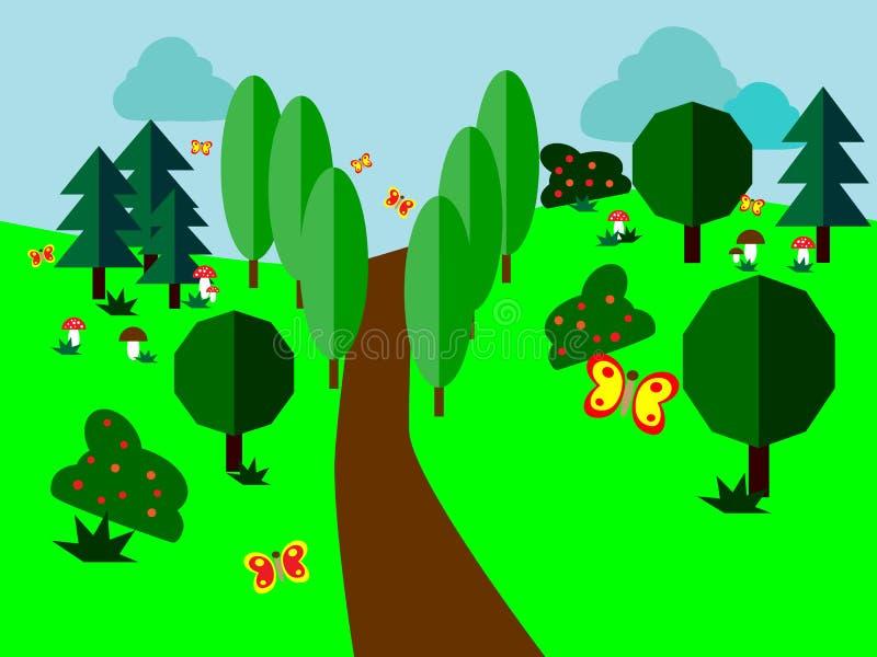 Trajeto entre árvores e arbustos com borboletas de vibração ilustração royalty free