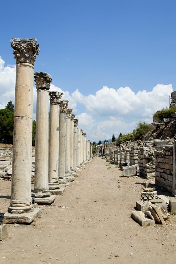 Trajeto Ephesus da coluna imagens de stock
