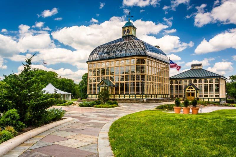 Trajeto a Howard Peters Rawlings Conservatory no Pa do monte da druida foto de stock royalty free