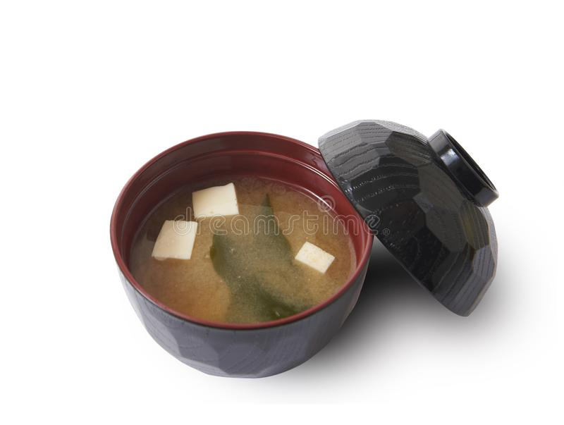 Trajeto isolado e de grampeamento da sopa de miso foto de stock