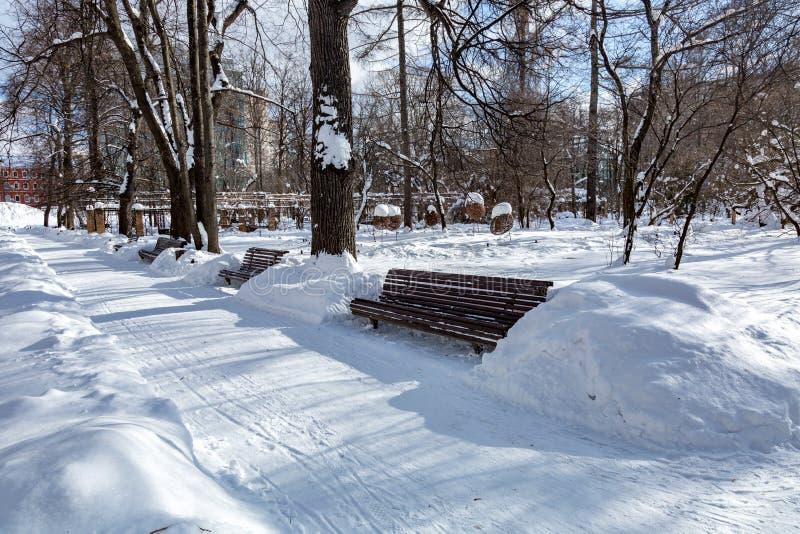Trajeto para pedestres no parque do inverno fotografia de stock