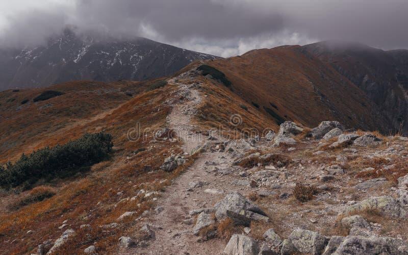 Trajeto rochoso ao pico de montanha em Rohace, Eslováquia foto de stock
