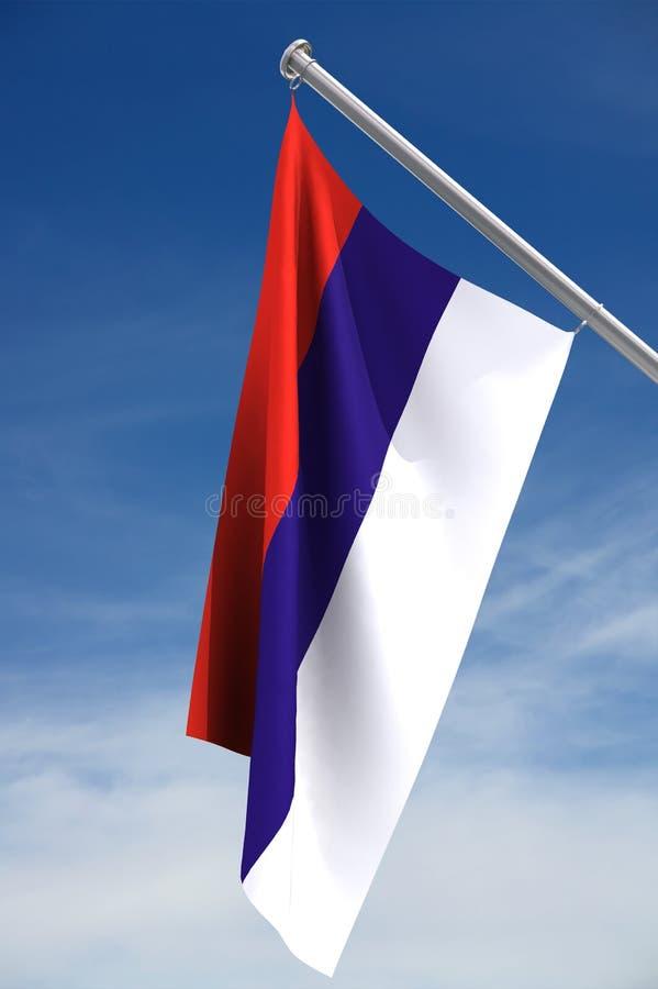 Trajeto sérvio da bandeira w/clipping ilustração do vetor