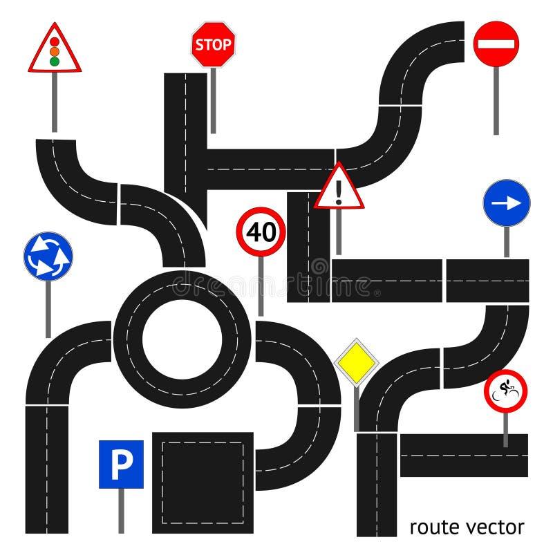 Trajeto com sinais de estrada ilustração do vetor