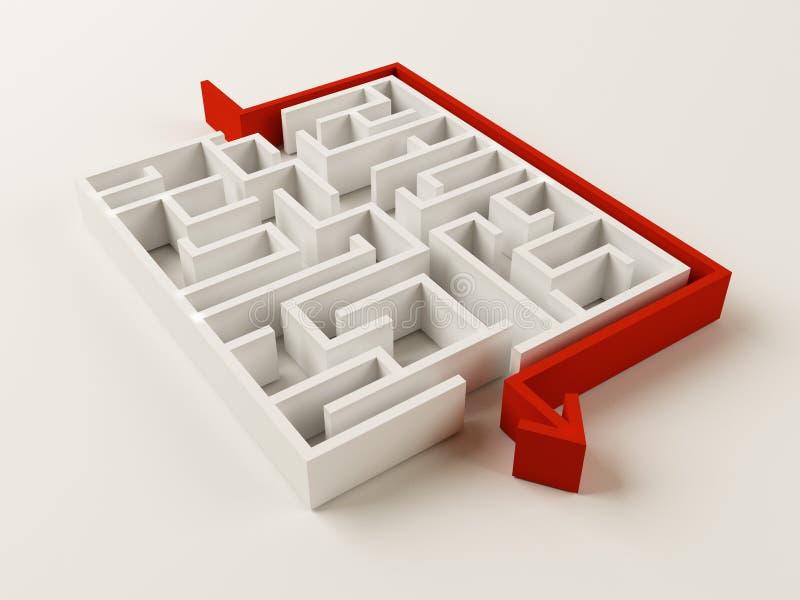 Enigma resolvido do labirinto ilustração stock