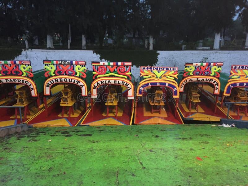 Trajineraboten in Xochimilco, Mexico royalty-vrije stock afbeelding