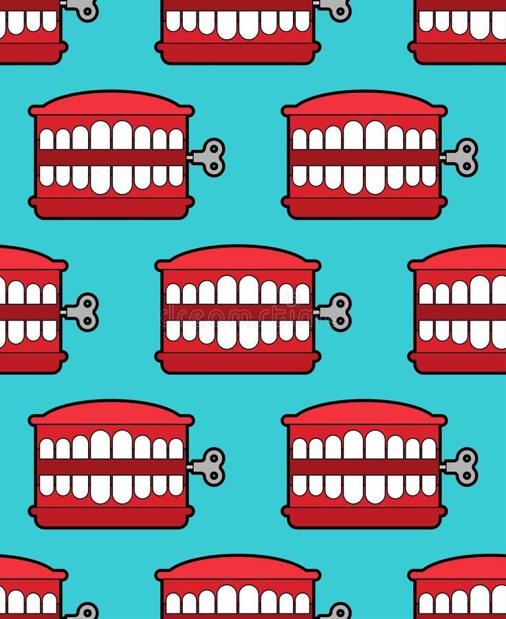 Trajkotanie zębów zabawka odizolowywająca Kwietni durni dnia symbol Szczęki zabawkarski vect royalty ilustracja