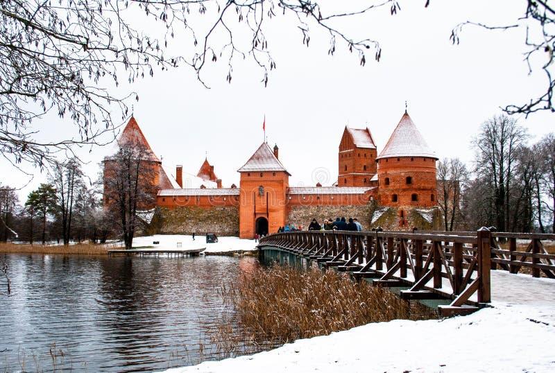 Trakai średniowieczny kasztel w zimie zdjęcie stock