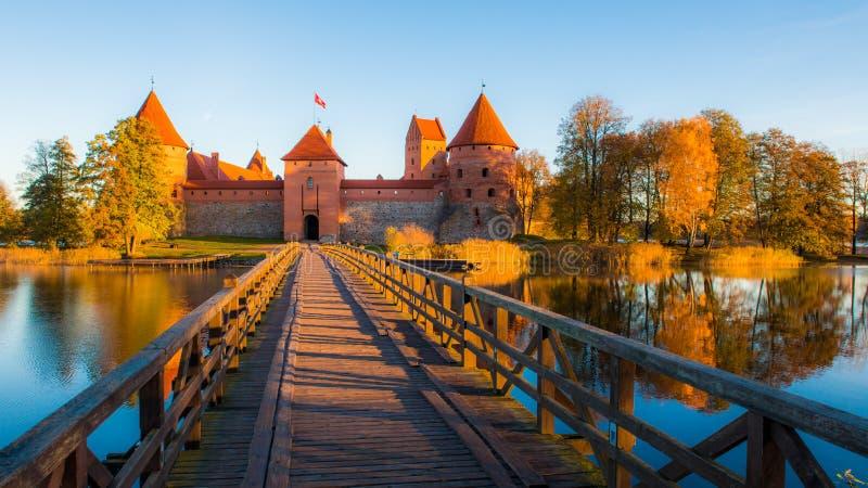 Trakai castle fall season stock image