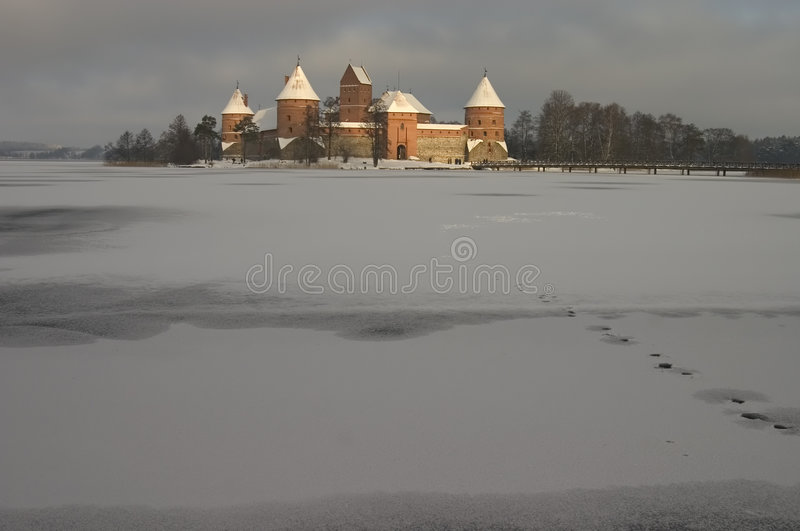 Trakai in de Winter royalty-vrije stock afbeelding