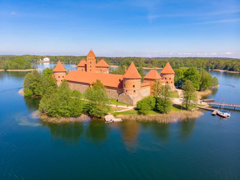 Trakai Island Castle. Lithuania. Drone aerial photo stock image