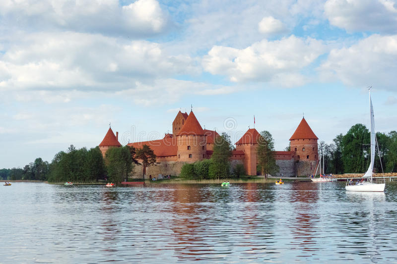 Trakai Island Castle. Is an island castle located in Trakai, Lithuania on an island in Lake GalvÄ—. The construction of the stone castle was begun in the stock photos