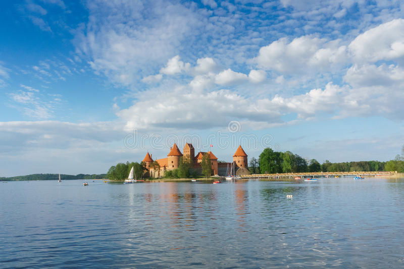 Trakai Island Castle. Is an island castle located in Trakai, Lithuania on an island in Lake GalvÄ—. The construction of the stone castle was begun in the royalty free stock photos