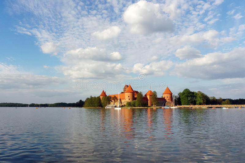 Trakai Island Castle. Is an island castle located in Trakai, Lithuania on an island in Lake GalvÄ—. The construction of the stone castle was begun in the royalty free stock images