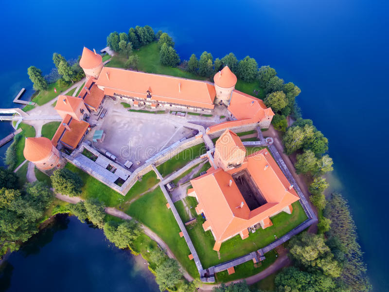 Trakai, Lithuania: Island castle, aerial UAV top view, flat lay. Trakai, Lithuania: aerial UAV top view, flat lay of Island Castle in the sunrise. Historical royalty free stock photos