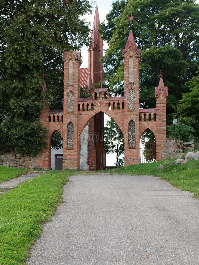 Trakai old gates to church stock photos