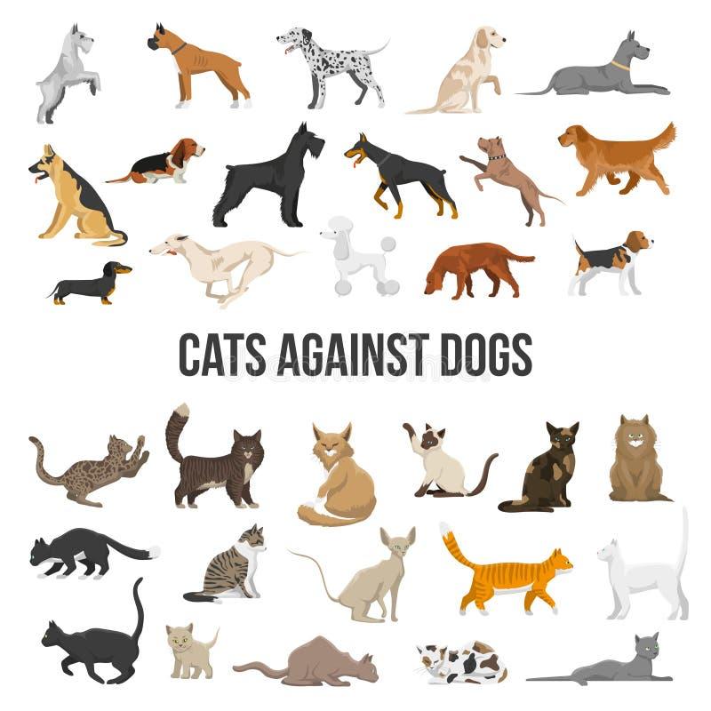 Trakenu set pies i kot ilustracji