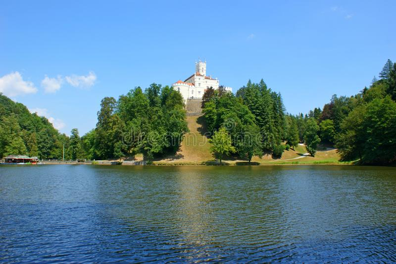 Trakoscan Castle. Old castle in north Croatia stock photo
