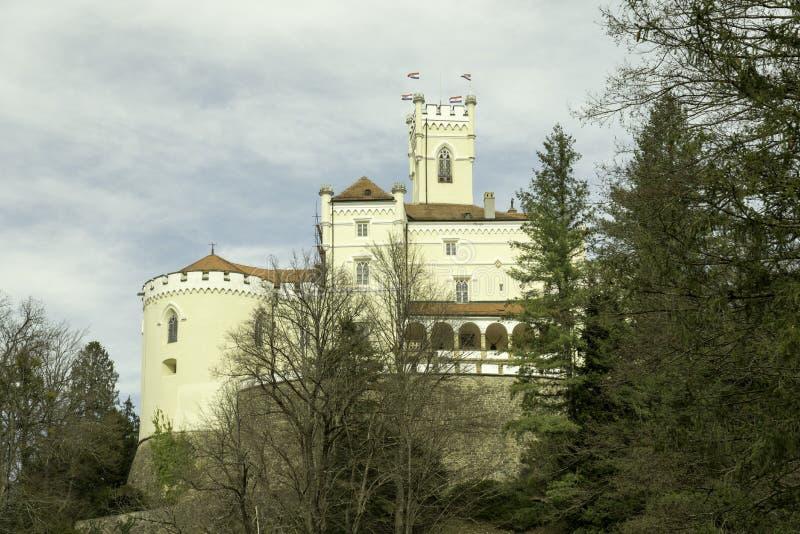 Trakoscan castle, Zagorje,  Croatia, Europe. Trakoscan castle on a cloudy day, Zagorje, Croatia, Europe, tourist locations royalty free stock photography