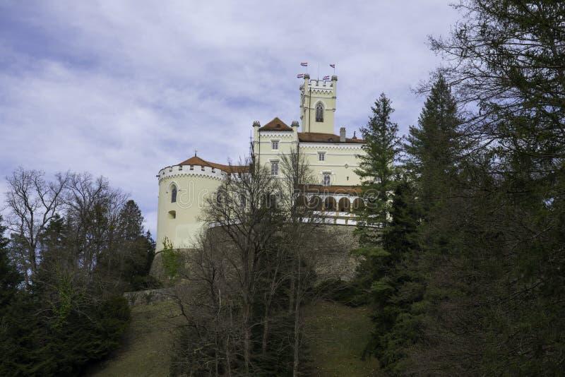 Trakoscan castle, Zagorje,  Croatia, Europe. Trakoscan castle on a cloudy day, Zagorje, Croatia, Europe, tourist locations stock photos