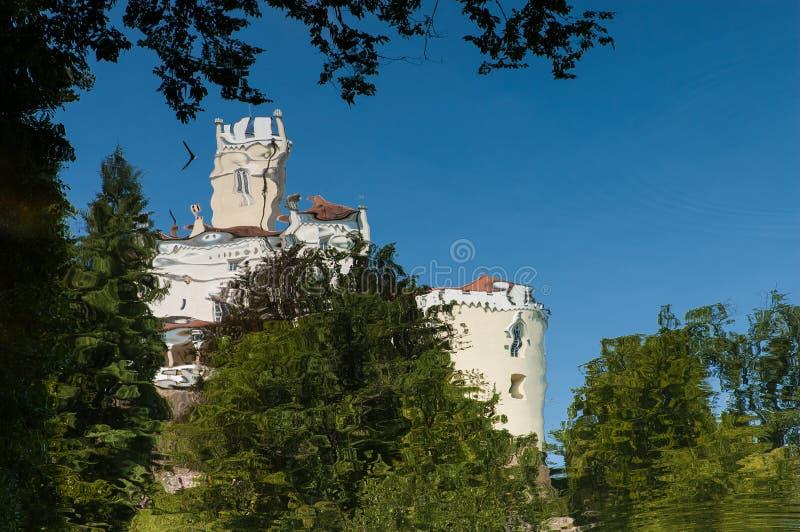 Trakoscan Castle in Croatia. The reflection of the Trakoscan Castle on the water of a lake in Croatia royalty free stock photos