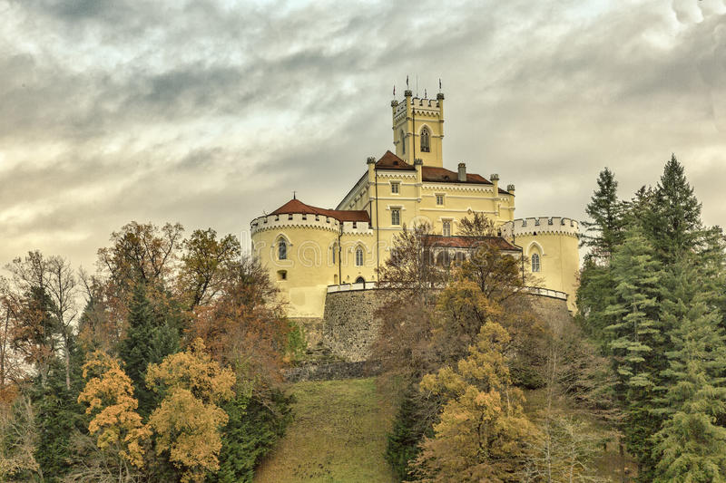 Trakoscan castle in Croatia. Trakoscan castle placed in the Zagorje region,far north of the Croatian highlands. It is one of many castles in this region stock photo