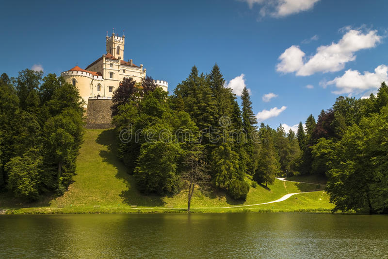Trakoscan castle in Croatia. Trakoscan castle on a sunny summer day royalty free stock images