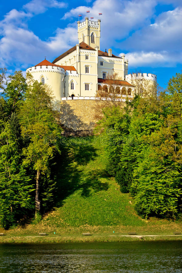Trakoscan castle and green lake. Vertical view, Zagorje, Croatia royalty free stock image