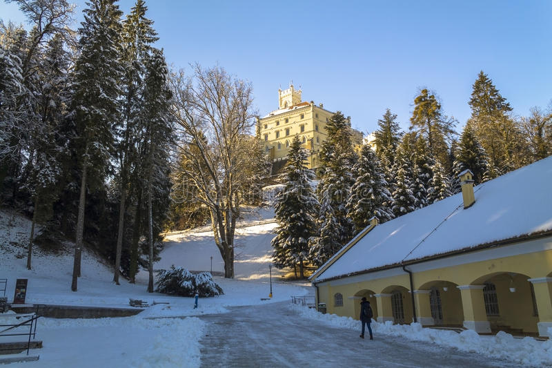 Trakoscan castle in winter. Croatia royalty free stock photography