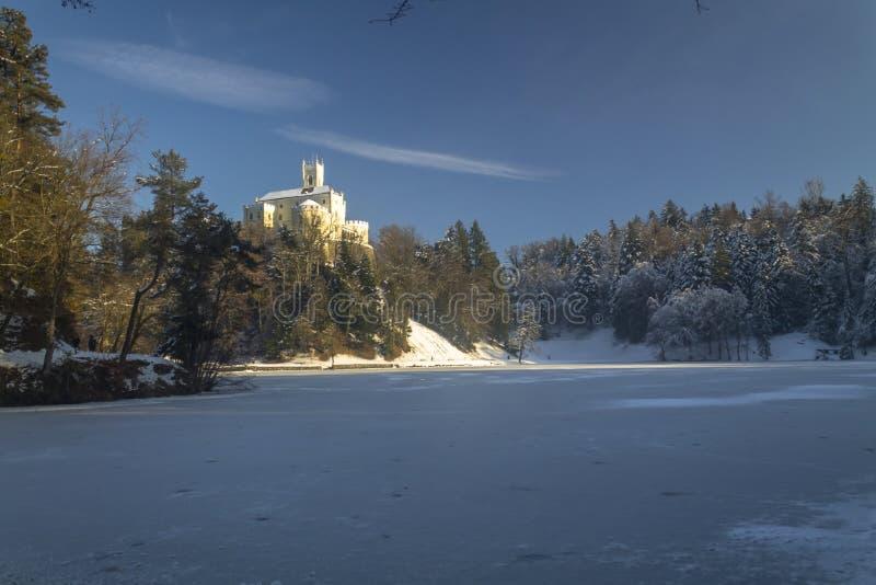 Trakoscan castle in winter. Croatia stock photography
