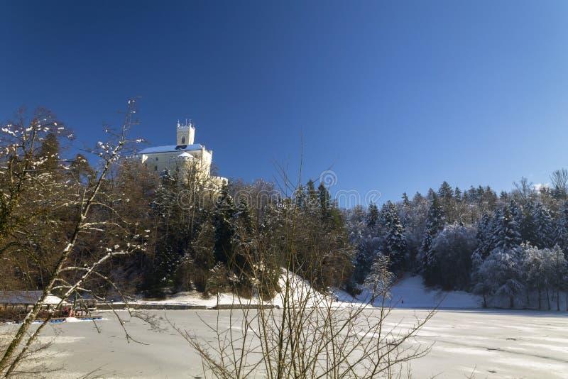 Trakoscan castle in winter. Croatia stock image
