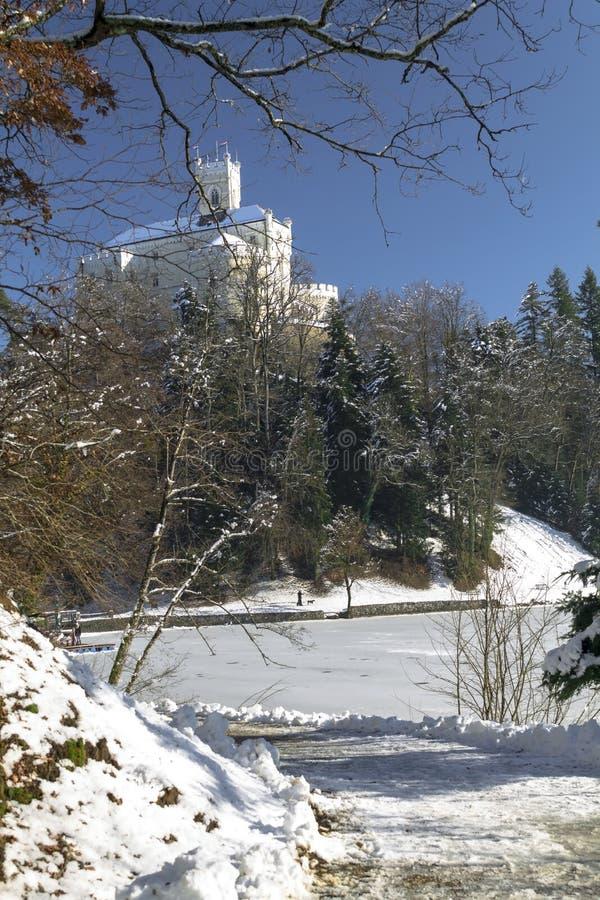 Trakoscan castle in winter. Croatia royalty free stock photo