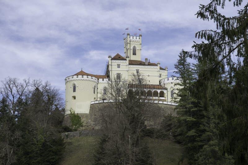 Trakoscan castle, Zagorje,  Croatia, Europe. Trakoscan castle on a cloudy day, Zagorje, Croatia, Europe, tourist locations stock image