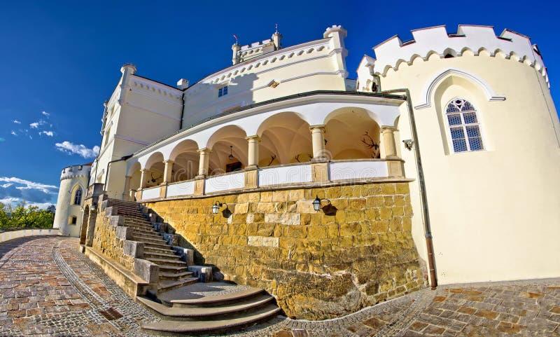Trakoscan monumental castle panoramic view. In Zagorje, Croatia stock photo