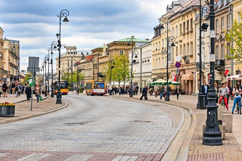 Trakt Krolewski街视图,华沙 库存图片